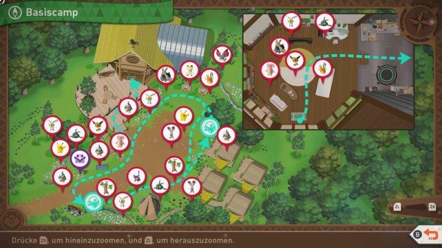 """Karte mit Pokémon-Fundorten auf der Strecke """"Basiscamp""""."""