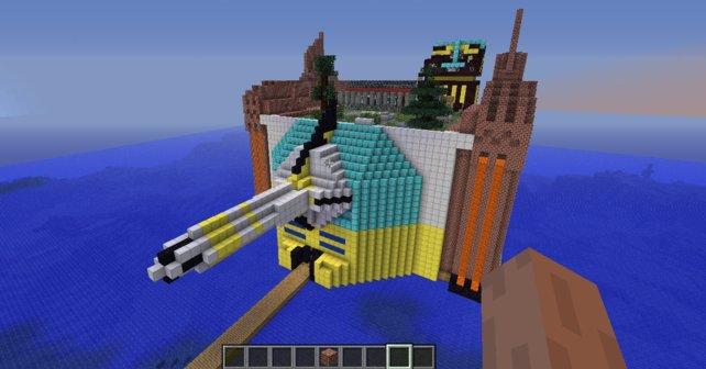 Darf ich vorstellen? Eine Tempelbasis mit einer Laserkanone, einem Steingarten und einem Flughafen.