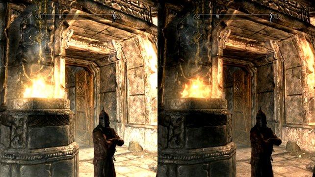 Kommt ihr aus dem Dunkeln in ein helles Gebiet, werdet ihr zunächst geblendet (links), bevor sich euer virtuelles Auge daran gewöhnt (rechts).