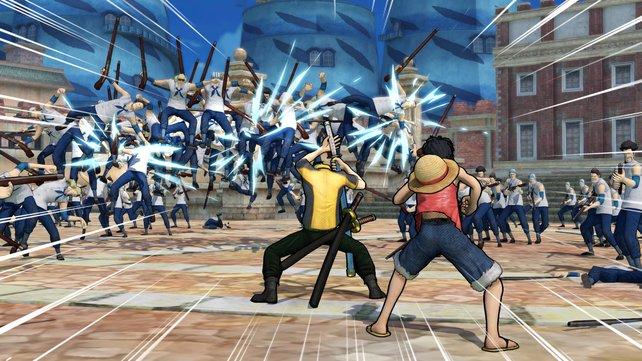 Teamwork ist der Schlüssel zum Sieg. hier kommt Zorro Ruffy zu Hilfe.