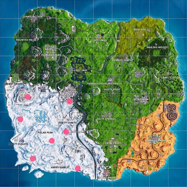 Auf dieser Karte sind die Fundorte aller Fröstelzwerge eingezeichnet. (Woche 6, Season 7)