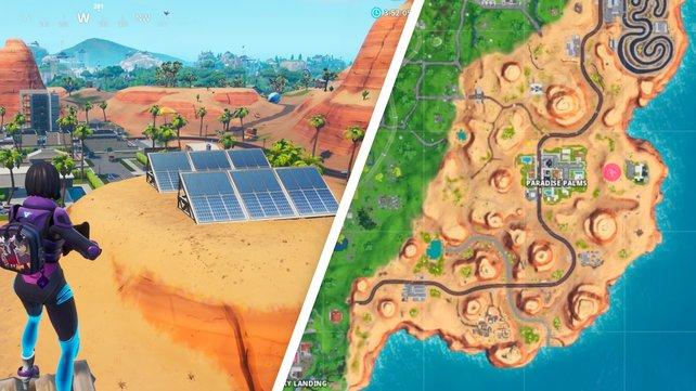 Hier seht die Sonnenkollektoren, die ihr im Osten der Wüstenlandschaft findet.