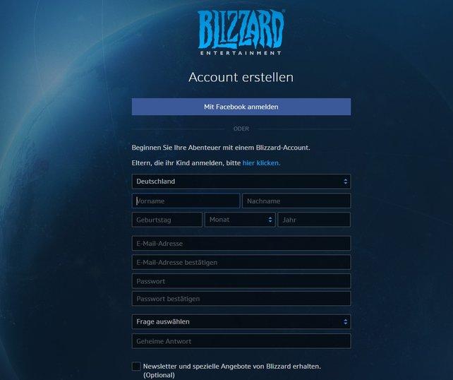 Das Anlegen eines eigenen Blizzard-Accounts ist nicht wirklich schwierig. Ihr könnt, wenn ihr wollt, auch euren Facebook-Account nutzen.