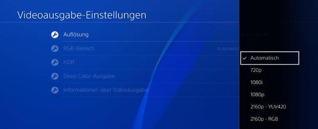 Versucht es zunächst, die Auflösung der PS4 auf automatisch zu ändern.