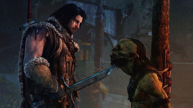 Talion klärt den Ork über die aktuelle Bartmode auf. Der Zottel-Look ist nicht mehr gefragt.