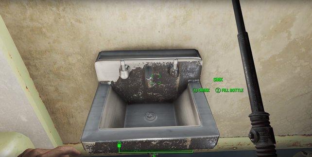 Im Survival Modus von Fallout 4 könnt ihr in Vaults Wasser an Waschbecken auffüllen.