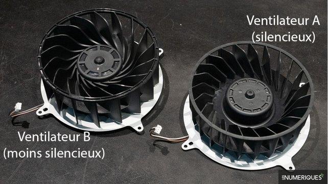 Die verschiedenen PS5-Lüfter im direkten Vergleich. (Bildquelle: Les Numeriques.)