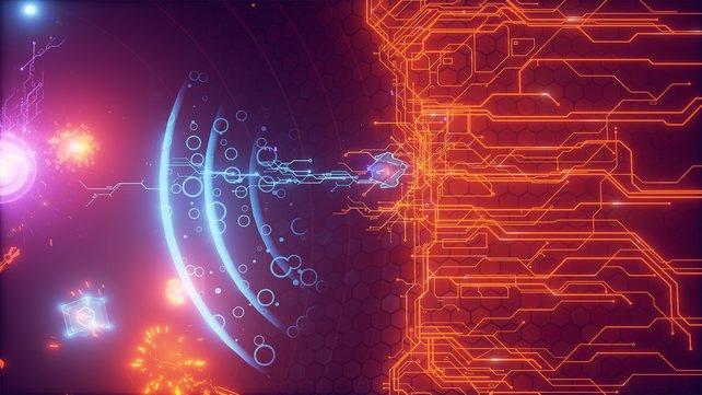 Ihr ballert euch durch eine surreal anmutende Arena. Wichtig ist die Wahl des Schiffs samt Waffensystem.