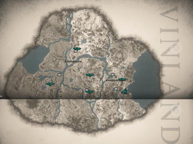 Seit ihr in der Story weit genug fortgeschritten, erhaltet ihr den Auftrag, nach Vinland zu reisen, wovon ihr hier die Map seht.