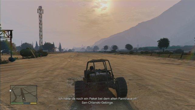 Meidet während dieser Missionen möglichst öffentliche Straßen und heizt mit dem Buggy querfeldein.