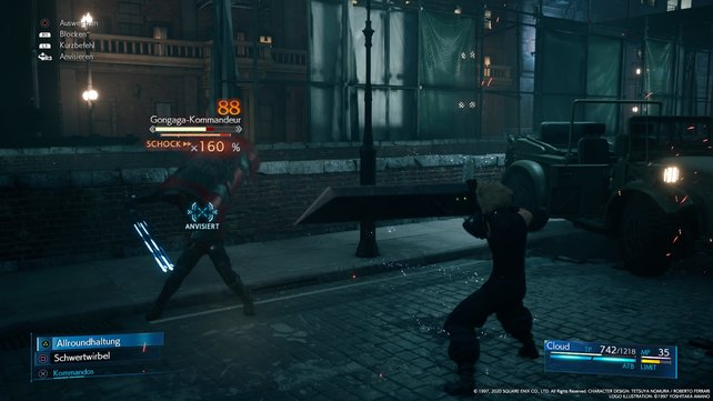 Bei Gegnern mit Schild müsst ihr mit einer Dodge-Roll hinter sie gelangen und dann auf sie einprügeln.