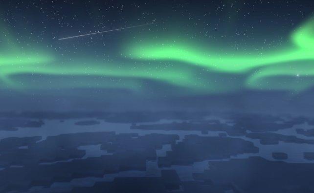 """Dinge wie diese Polarlichter am Himmel, wurden im Nachhinein mit """"After Effects"""" eingefügt."""