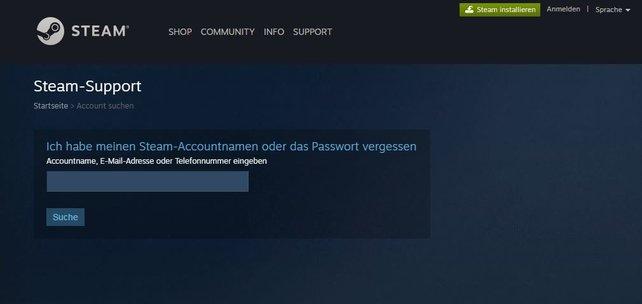 Gebt an dieser Stelle euren Account-Namen an, um euer Passwort zurückzusetzen.