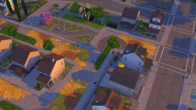 Mithilfe von Aktionsplänen könnt ihr euren Wohnbezirk deutlich verschönern. Hier wurde die Stadt mit Sonnenblumen auf der Fahrbahn verziert.