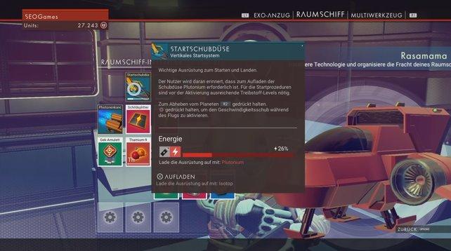 Um euer Schiff starten zu können, müsst ihr Elemente wie Plutonium sammeln.