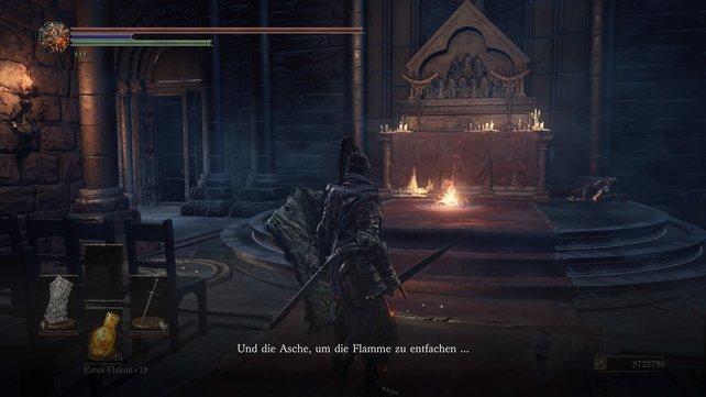 Wenn ihr den DLC starten wollt, dann müsst ihr den Mönch neben dem Altar ansprechen.