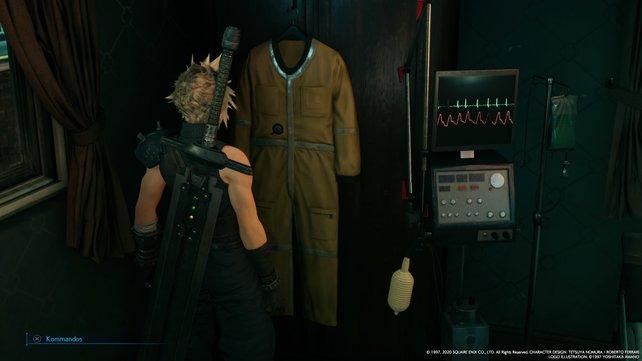 Die Shinra-Mitarbeiter-Karte von Jessies Vater findet ihr in einer der Brusttaschen des Schutzanzugs neben dem Bett.