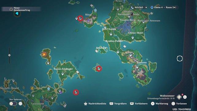 Die Karte zeigt euch alle Angelstellen auf Narukami und Kannazuka.