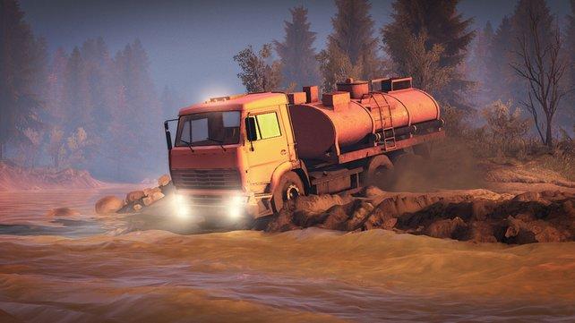 Mit dem Benzintransporter durch den See. Jetzt nur nicht stecken bleiben!