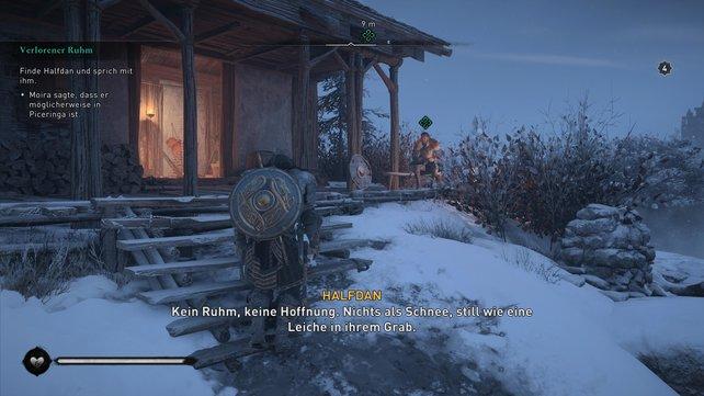 Den schmollenden Sohn Ragnars findet ihr am östlichen Rand der Siedlung Piceringa, wo er auf einer Bank sitzt.