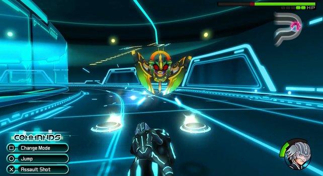 Riku muss der Kommandoschrecke zuerst auf einem Tron-Bike entkommen.