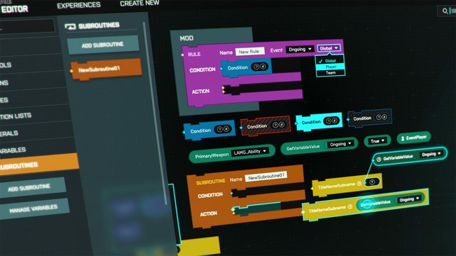 Mittels Visual Scripting erstellt ihr eure eigenen Spielregeln auf dem Schlachtfeld.