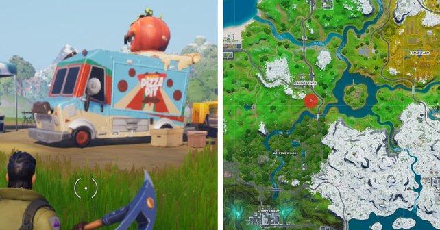 """Der Rote Punkt zeigt verweist auf den Standort des """"Pizza Pit""""-Imbisswagens."""