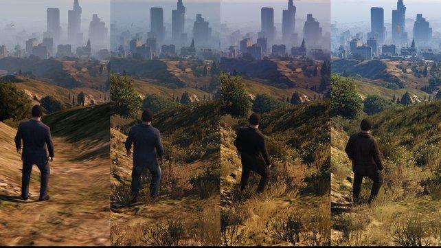 Ein Vergleich der Vegetation und der Fernsicht: Xbox 360, Xbox One, PS4, PC (von links nach rechts).