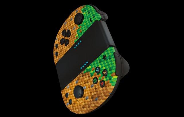 Ein Erdblock für die Joycon-Controller: Der Hersteller Gioteck hat spezielle Minecraft-Controller im Gepäck.