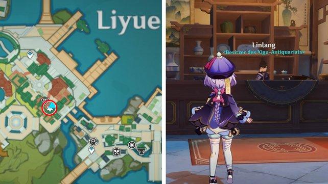 Die Karte zeigt euch den Standort von Linlangs Antiquariat in Liyue.