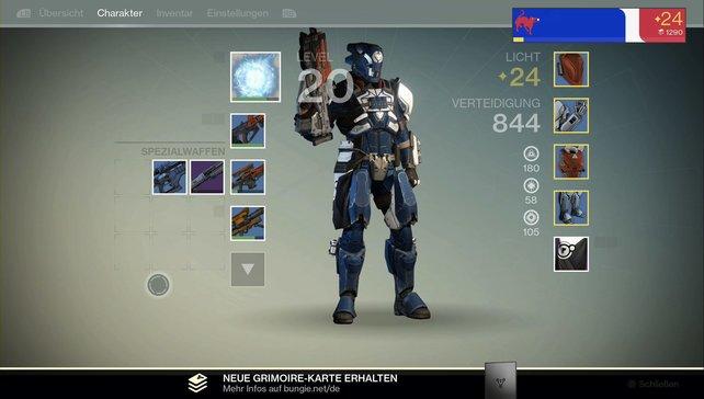 Mit Licht-Rüstung geht es nach Stufe 20 weiter. Im Bild ein Krieger der Titan-Klasse.