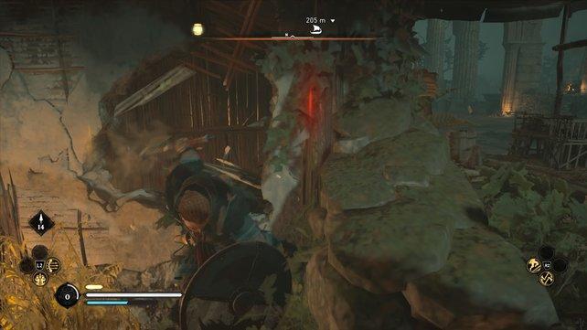 Auf diesem Screenshot könnt ihr die Wand aus Gestrüpp gut erkennen.