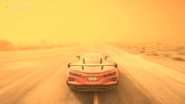 Mittendrin statt nur dabei: In einem Sandsturm ist die Sicht stark eingeschränkt. Optisch sieht das Ganze beeindruckend aus.