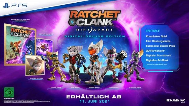 Soundtrack, Artbook und zusätzliche Skins gibt es in der Digital Deluxe Edition von Ratchet & Clank: Rift Apart.