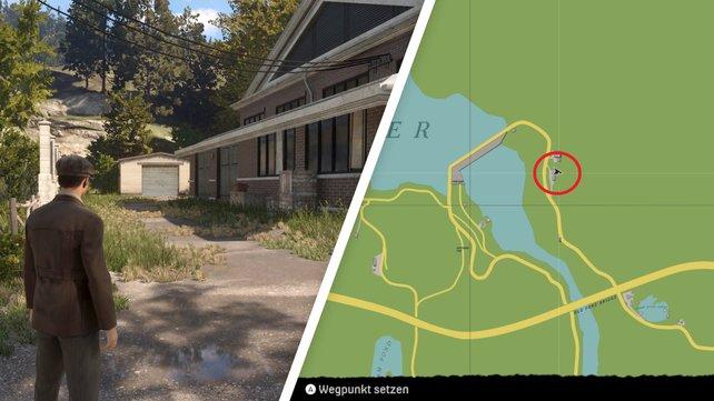 Die Fahrt in den Nordosten der Karte wird etwas länger dauern ... die Garage steht links im hinteren Bereich des Gebäudes.