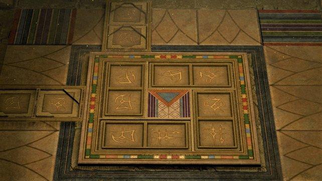 Legt die Bodenplatten so aus, um das Rätsel zu lösen.