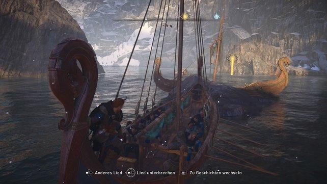 Bei diesem Schiffswrack solltet ihr Unterwasser suchen.