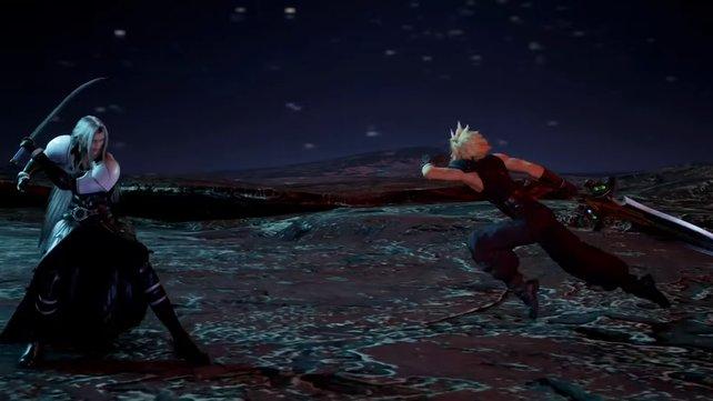 Auch an einem anderen Ort zu einer anderen Zeit kämpfen Cloud und Sephiroth gegeneinander, doch Cloud hat keine Chance.