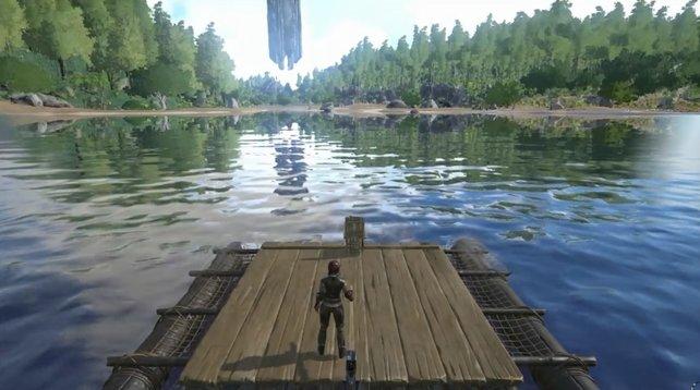 In Ark - Survival Evolved könnt ihr auch von einem Floß aus Fische fangen.