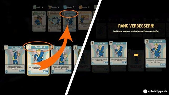 Ihr könnt zwei Skill-Karten benutzen, um dafür eine stärkere zu bekommen.