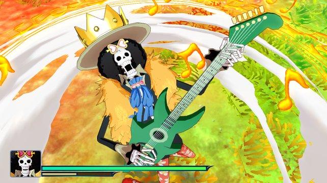 Eine Spezialattacke mit der Gitarre sieht schon legendär aus.