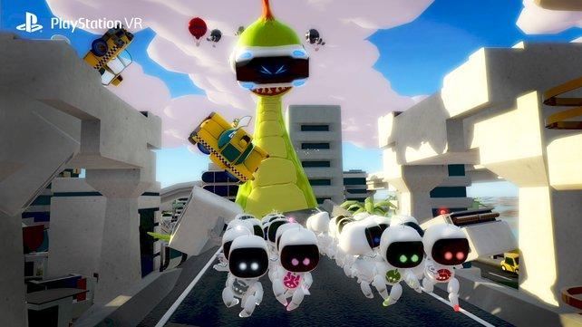Als VR-brillentragendes Monster verfolgt ihr eure Mitspieler, die ausweichen sollten.