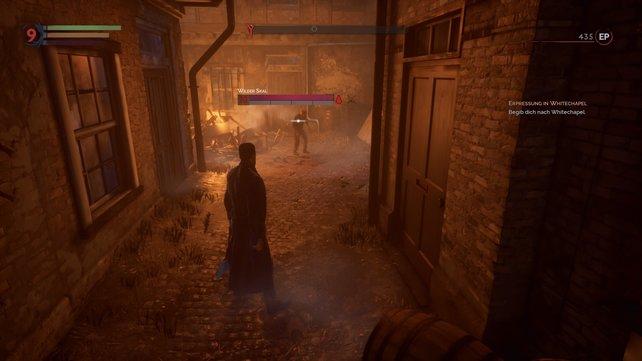 Neben den Leisten seht ihr Resistenzen und Schwächen der Gegner. Nutzt den Vampir-Sinn, um genauere Informationen über den Feind zu erhalten.