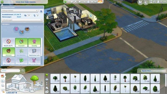 Hier seht ihr das komplette Bau- und Kaufmenü mit dem Informationsfenster für das Haus.
