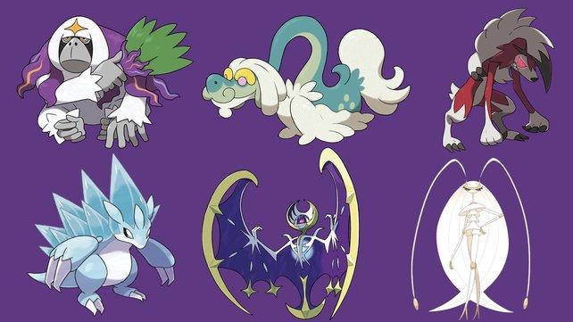Das sind die neuen Pokémon der 7. Generation, die es nur in Mond gibt.