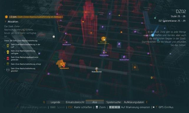 Eure Karte zeigt euch Fundort und Status der Dark-Zone-Nachschublieferung an.