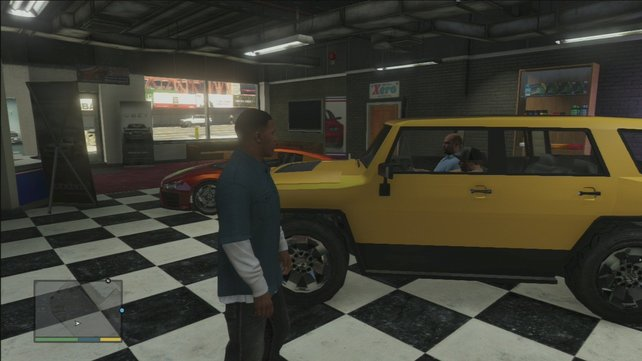 Im Autohaus bekommt ihr von Simeon eure ersten Missionen.