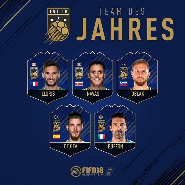 Die Auswahl der Torhüter für das Team of the Year 2018.