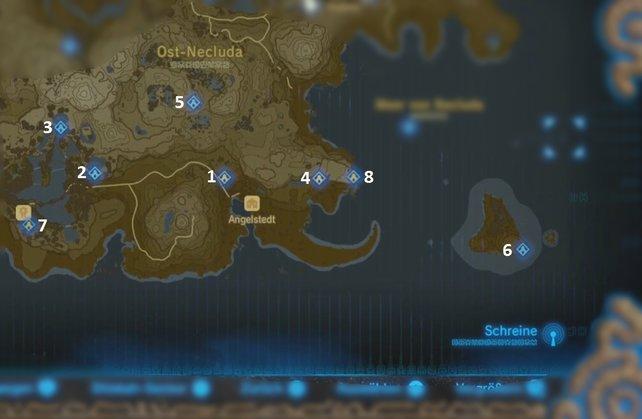 """Die Karte mit den Schreinen der Region """"Phirone-Turm""""."""