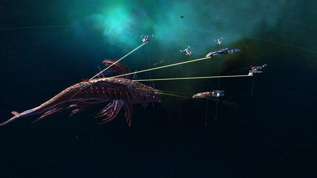 Egal ob gegen feindliche Schiffe oder Weltraum-Monster - die Kämpfe können sich sehen lassen.